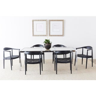 Milo Baughman Chrome Cane Wicker Dining Table Preview