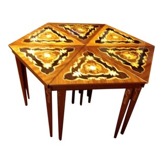 Vintage Italian Inlaid Coffee or Accent Tables - 6 Pieces For Sale