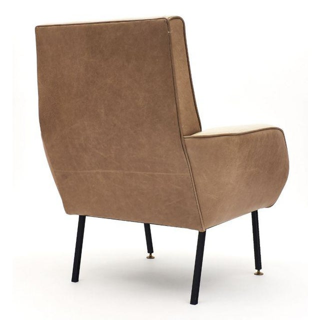 French Modernist Two-Toned Leather Armchairs - a Pair For Sale - Image 11 of 12