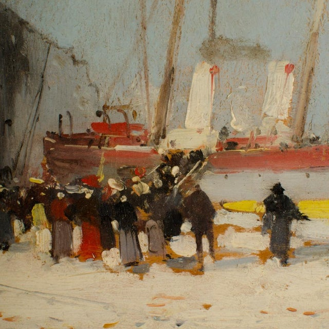 """Blue 19th Century """"Harbor During Date"""" Maritime Oil Painting Signed A. Michel, Framed For Sale - Image 8 of 10"""