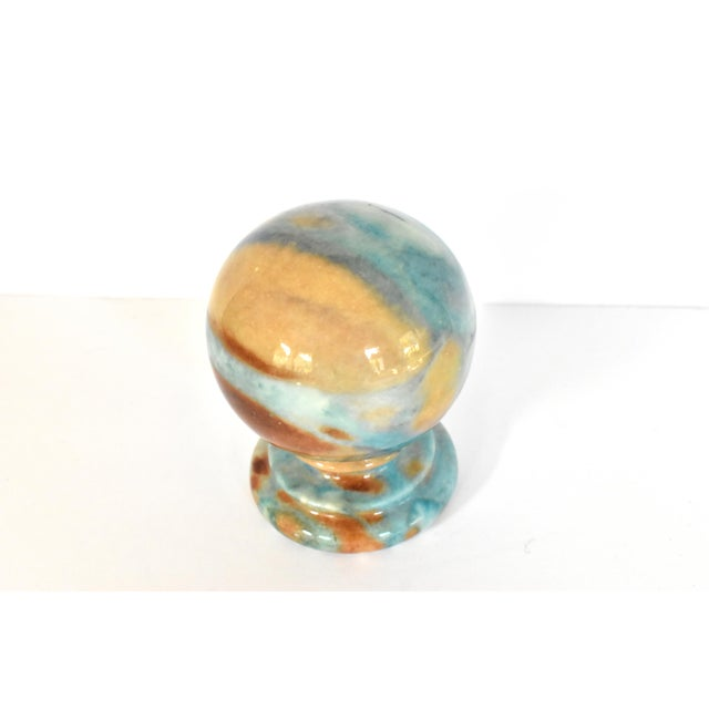 Blue Vintage Italian Duccheschi Blue and Tan Alabaster Round Paper Weight For Sale - Image 8 of 12