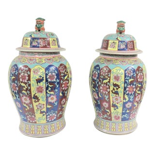 Chinese Porcelain Urns - a Pair