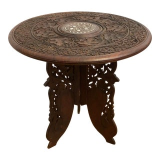 Vintage Carved Teak Indian Table For Sale