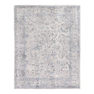 Exquisite Rugs Biron Handmade Wool & Viscose Beige & Blue - 9'x12' For Sale