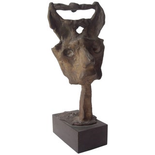 Emerson Woelffer Bonze Sculpture, Abstract Face, Signed, Dated, Numbered For Sale