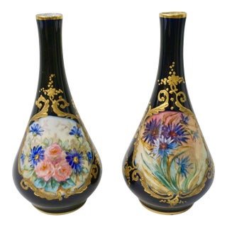 1930s Limoges French Cobalt Blue One Flower Vases - a Pair For Sale