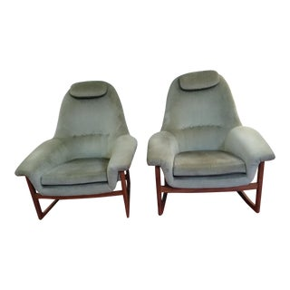 Mid Century Modern Lounge Chair & Rocking Chair- A Pair For Sale