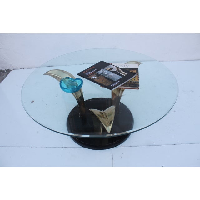 Lacquer & Brass Palm Leaf Coffee Table For Sale - Image 5 of 10