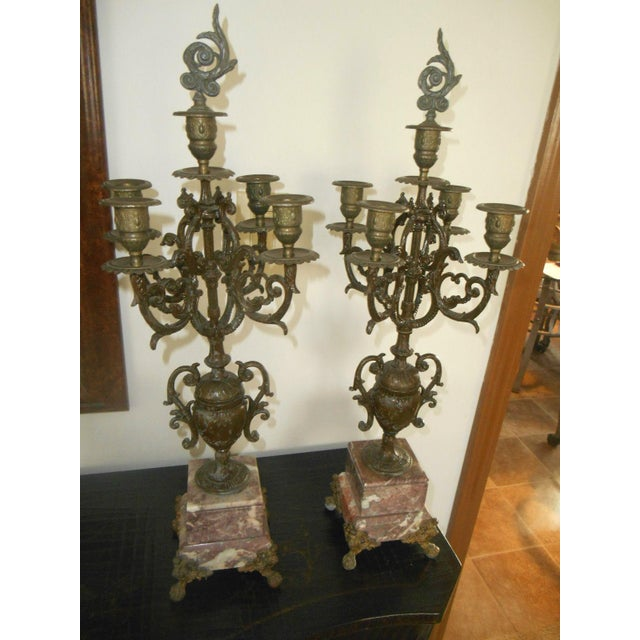 Antique Rose Italian Marble and Gilt Brass Candelabras - A Pair - Image 2 of 6