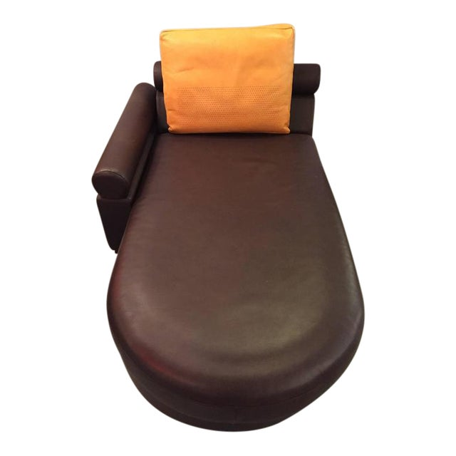 Roche Bobois Brown Leather Chaise Longue or Daybed
