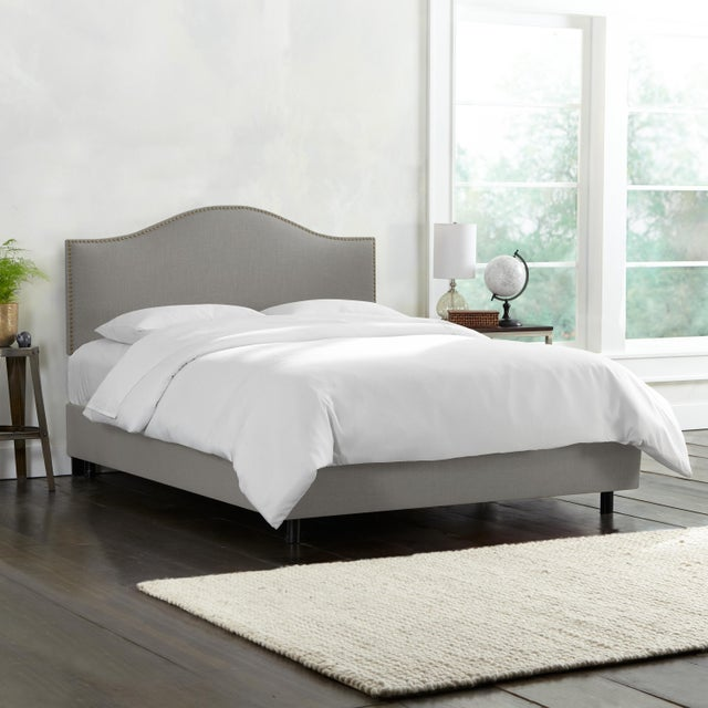 Contemporary Linen Grey Queen Nail Button Bed For Sale - Image 3 of 8