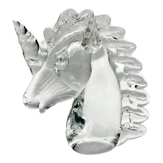 Mid Century Murano Blown Crystal Unicorn Head For Sale