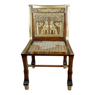 19th C. Vintage French Egyptian Revival Mahogany & Gilt Chair For Sale