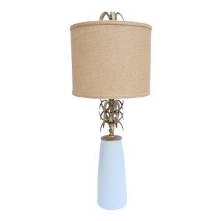 Modern Ceramic & Bronze White Designer Lamp For Sale