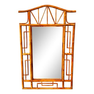 Vintage Coastal Bamboo Pagoda Mirror After Ficks Reed For Sale