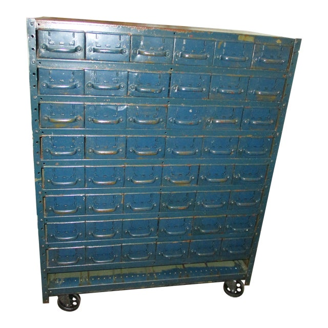 Vintage Industrial Equipto Muti Draw Parts Cabinet For Sale