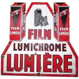 Vintage French Lumiere Lumichrome Film Camera 2 Sided Porcelain Sign For Sale