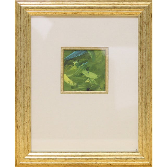 Green & Turquoise Abstract Oil in a Goldtone Frame - Image 1 of 3