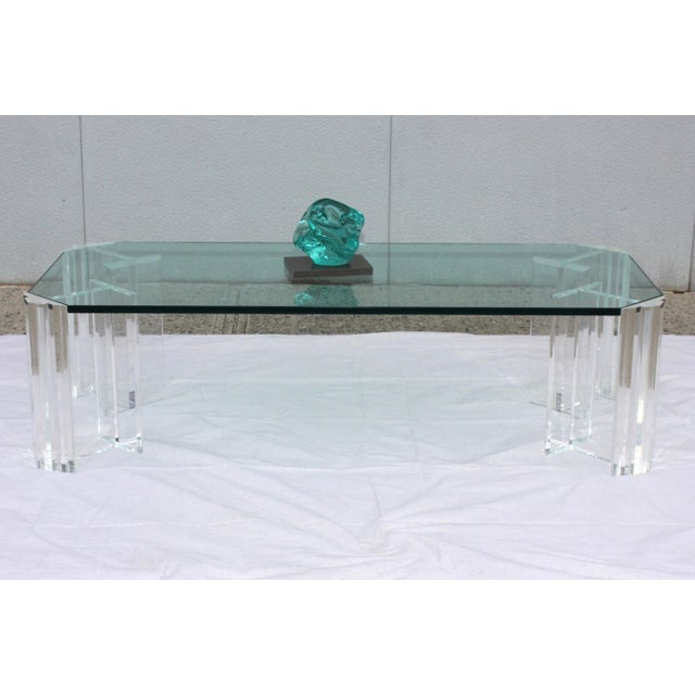 Transparent 1970s Modern Lucite Coffee Table For Sale - Image 8 of 9