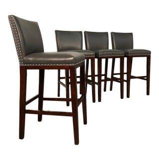 Modern Bar Stool Gray Seat & Back With Nailhead Trim ~ Set of 4 For Sale