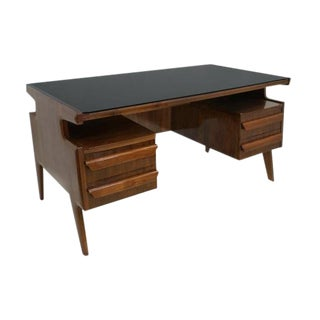 Italian Rosewood Four Drawer Desk For Sale