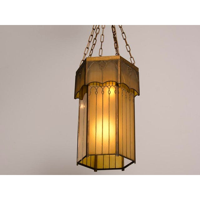 Edwardian English Arts and Crafts Period Tall & Slender Hexagonal Metal Frame & Glass Lantern For Sale In Houston - Image 6 of 9