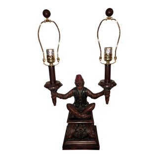 Bronze Carved Resin Monkey Table Lamp For Sale
