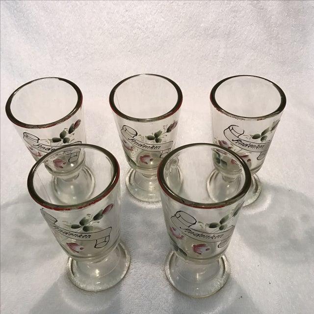"""German """"Andenken"""" Pedestal Glasses - Set of 5 For Sale - Image 5 of 8"""