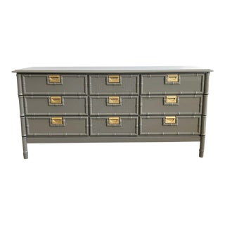 Vintage Gray 9 Drawer Faux Bamboo Dresser