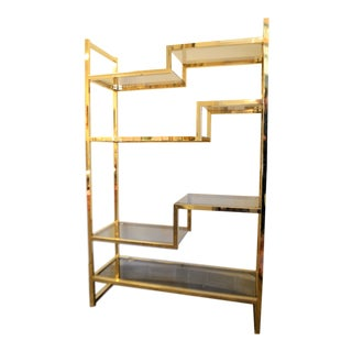 1950s French Brass Plated Etagere Shelving Unit, 7 Shelves in Smoke Glass For Sale