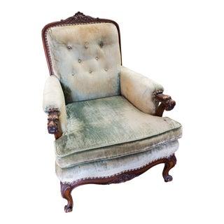 Vintage Sea Foam Green Velvet Tufted Lounge Reading Chair