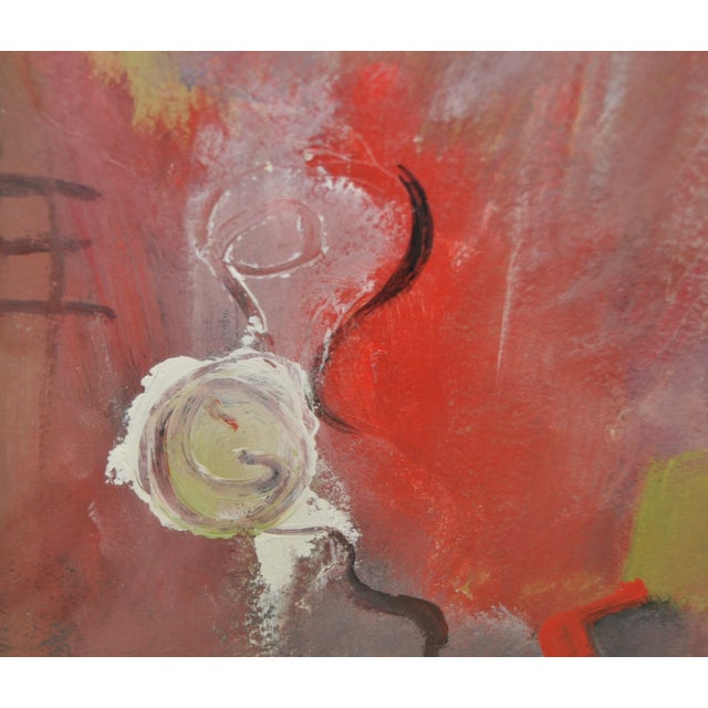 Contemporary Framed Abstract Oil on Paper - Image 6 of 8