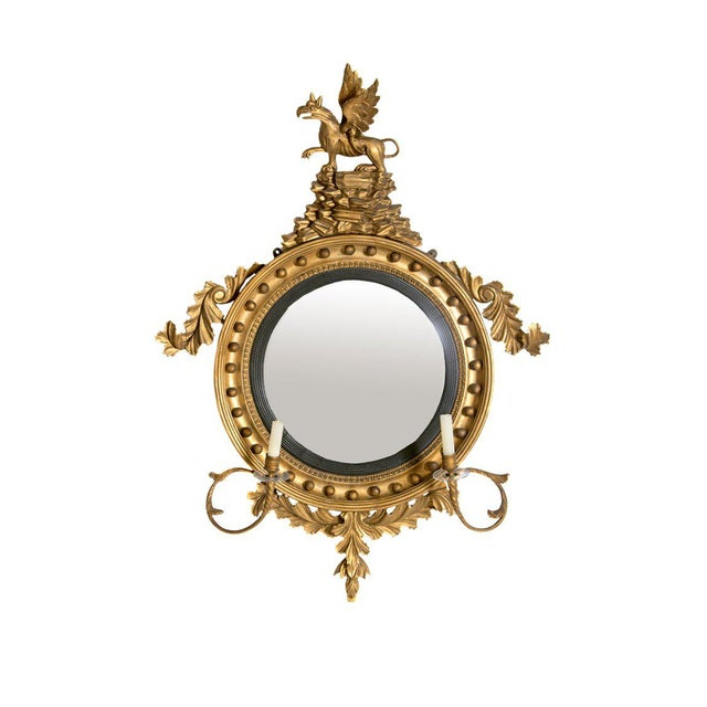 18th Century George III Gilt-Wood Convex Girandole Mirror For Sale - Image 13 of 13