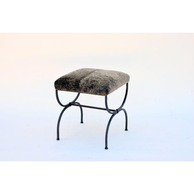 2010s Pair of 'Strapontin' Wrought Iron and Fur Stools For Sale - Image 5 of 9