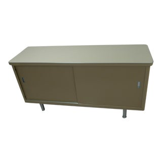 Media Center From Steel Credenza With Deep Compartments and Sliding Doors. For Sale