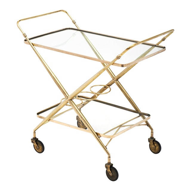 Vintage French Brass Bar Cart For Sale