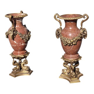 Pair of Large French Louis XVI Style Urns For Sale