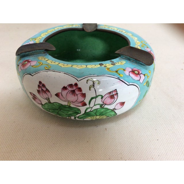 Canton Enamel Floral Ashtray For Sale - Image 7 of 8