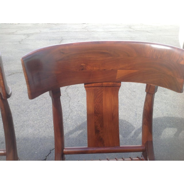 Klismos Style Walnut Dining Chairs -Set of 4 - Image 5 of 6