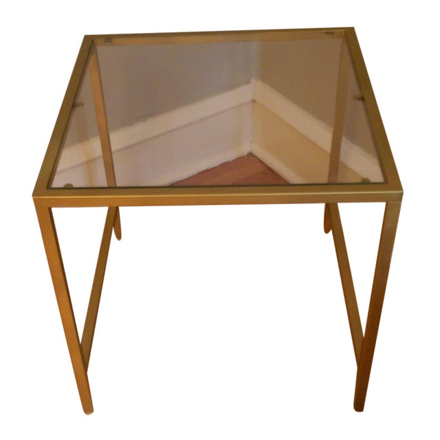 Gold Framed Side Table with Glass Top - Image 1 of 6
