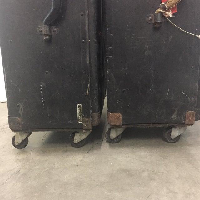 Black Vintage Black Trunks on Rollers- A Pair For Sale - Image 8 of 8