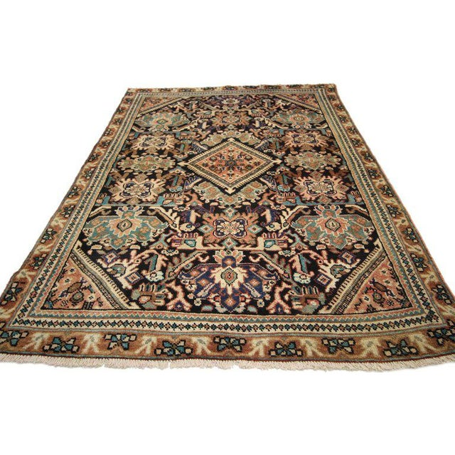Textile Vintage Mid-Century Persian Mahal Rug - 4′1″ × 6′7″ For Sale - Image 7 of 8