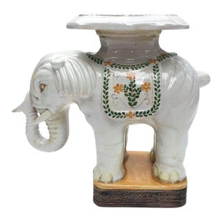 Large Italian Terra Cotta Elephant Garden Stool For Sale