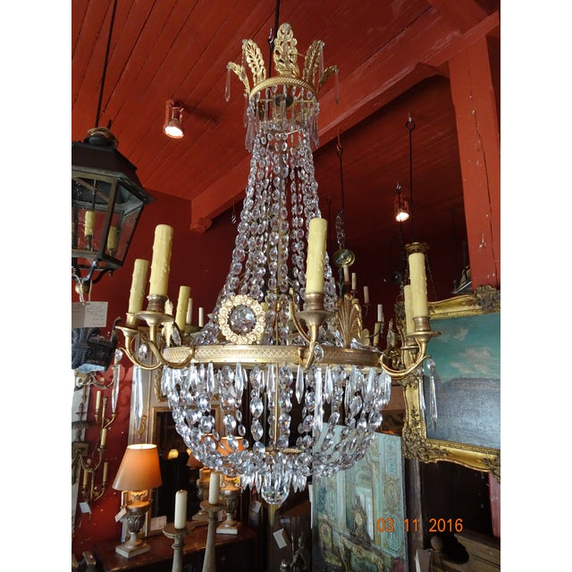 19th Century French Empire Crystal Chandelier For Sale - Image 12 of 12