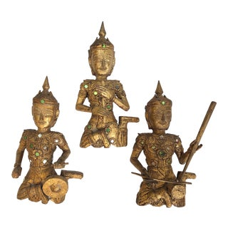 Giltwood Thai Figures of Siamese Musicians, Set of 3 For Sale
