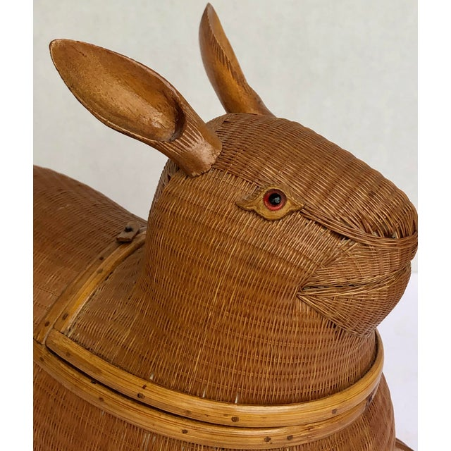 20th Century Shanghai Collection Hand Woven Wicker Rabbit Box For Sale - Image 4 of 13