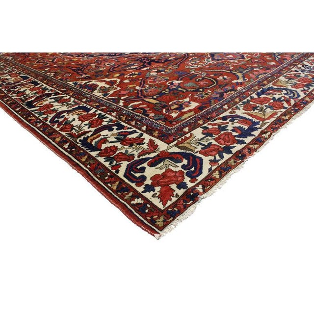 Neoclassical 1930s Antique Persian Bakhtiari Colonial and Federal Style Area Rug - 13′2″ × 17′4″ For Sale - Image 3 of 5
