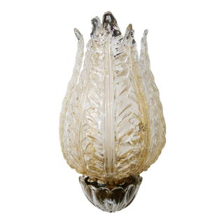Venini Wall Lamp in Murano Glass Gold and Brass With Three Leaves, From 1930s For Sale