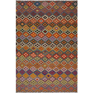 Contemporary Ebony Beige/Brown Hand-Woven Kilim Wool Rug - 8'4 X 11'4 For Sale