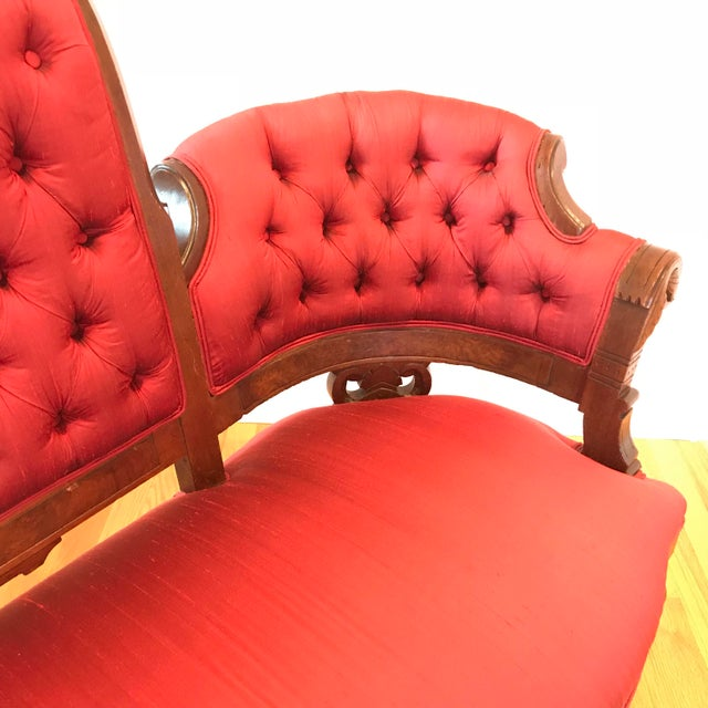 1900 - 1909 1900s Antique Mahogany Silk Settee For Sale - Image 5 of 7
